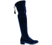 Samt-Overknee-Stiefel mit Quaste