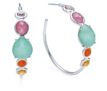 multi stone hoop earrings