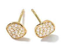 Mini Flower Stud Earrings in 18K  with Diamonds