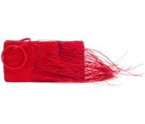 frayed woven clutch