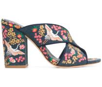 floral embroidered block heel sandals