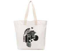 geometric-print logo tote bag