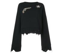gemstone embellished sweatshirt with distressed edges
