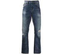 distressed straight-leg jeans