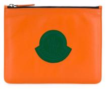 logo patch clutch bag