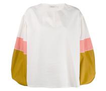 colour-block flared blouse