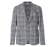 checked textured blazer