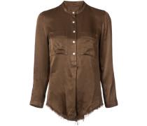 raw hem long sleeve shirt