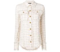 Tweed-Hemd mit Fransen