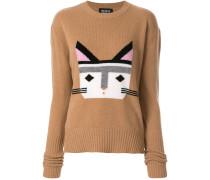 Intarsien-Pullover mit Katze