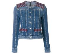 tweed panel denim jacket