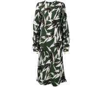 Gerüschtes Kleid mit Blatt-Print