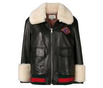 Web-trim leather bomber jacket