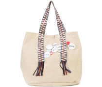 pin embellished canvas tote bag