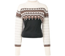 Cropped-Pullover mit Norwegermuster