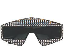 'Visor' Sonnenbrille mit Kristallen