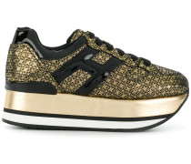 gold-toned suede sneakers