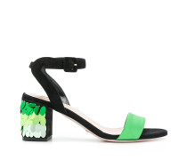 sequinned heel sandals