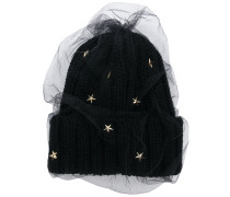 star embellished knitted hat
