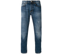 splattered stonewash slim jeans