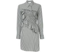 asymmetrical gingham shirt dress