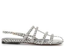 Flache Sandalen mit Schlangenleder-Optik
