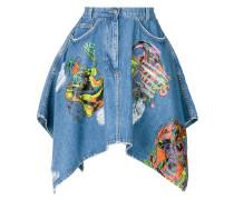 print flared denim skirt