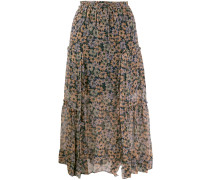 floral skirt with front slits