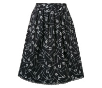 pin print flared skirt
