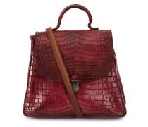 crocodile leather contrast-strap bag