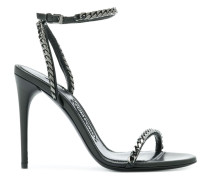 chain trim heeled sandals