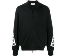 logo print zip-up hoodie