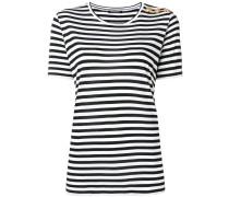 button striped T-shirt