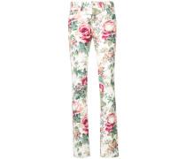 Skinny-Jeans mit Blumen-Print