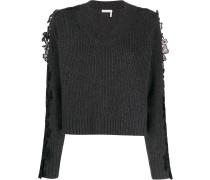Pullover mit geblümtem Spitzeneinsatz