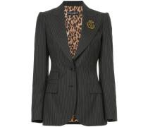 pinstripe blazer with crest appliqué