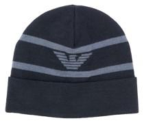 Gestreifte Mütze mit Logo