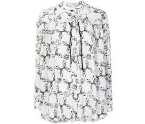 printed tie neck blouse