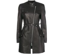 zipped fitted biker coat