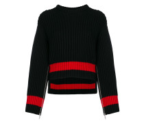 zipped sleeves chunky knit sweater