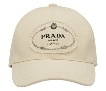 logo print applique cotton cap