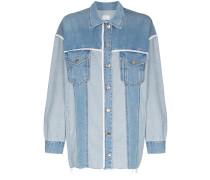 Jeansjacke mit Kontrastborte