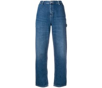 logo patch straight jeans