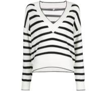 striped V-neck knit top