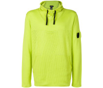 mesh front knitted hoodie