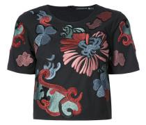 Cropped-T-Shirt mit Blumenstickerei