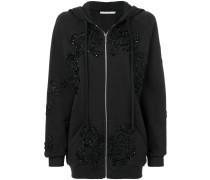 sequined oversized zip up hoodie