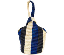 contrast woven tote