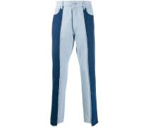 Patchwork-Jeans mit hohem Bund