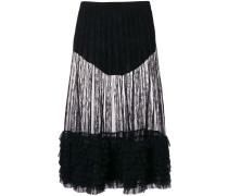 ruffle trim sheer midi skirt